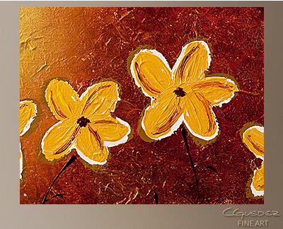 Little Sunshines Modern Abstract Art Painting -Wall Art Close Up