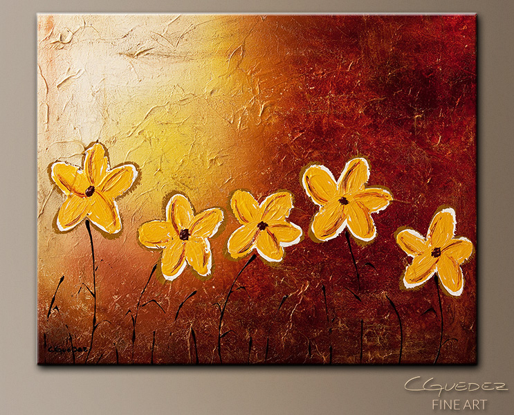 Little Sunshines - Abstract Art Painting Image by Carmen Guedez