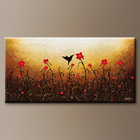Abstract Flower Art Painting - Lovely Bird - Art Gallery