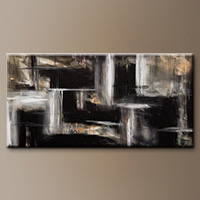 Black and White Abstract Painting - Mind over Matter - Art Canvas