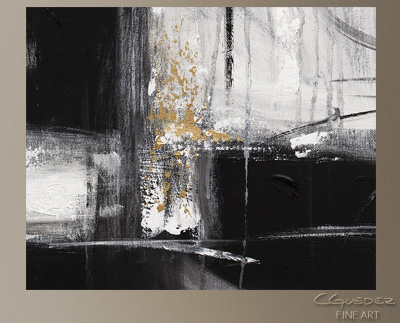 Noir et Blanc Modern Abstract Art Painting -Wall Art Close Up