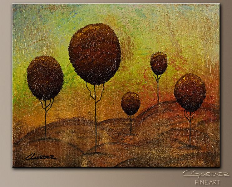 Original Abstract Painting - One Tree Hills - Landscape Wall Art ...