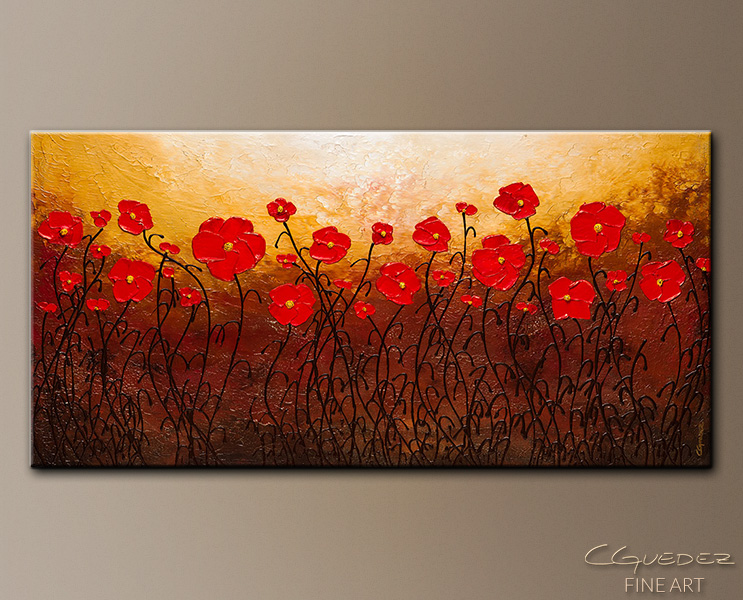 Poppy meadow abstract art on canvas floral abstract painting poppy meadow abstract art painting image by carmen guedez mightylinksfo