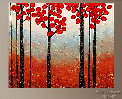 Red Blossom Modern Abstract Art Painting -Wall Art Close Up