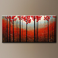 Modern Abstract Paintings - Red Blossom - Art Gallery