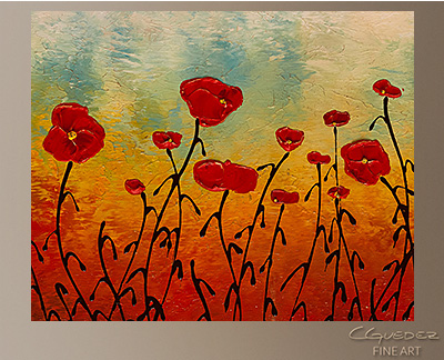 Red Flower Field Modern Abstract Art Painting -Wall Art Close Up
