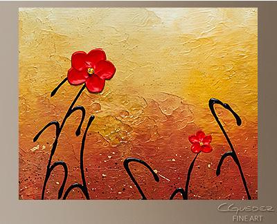 Red Flower Garden Modern Abstract Art Painting -Wall Art Close Up