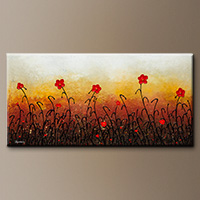 Abstract Art Painting with Red Flowers - Red Flower Garden - Original Art