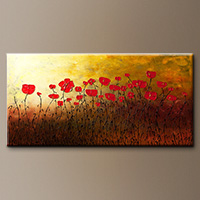 Red Flowers Modern Abstract Painting - Art Painting