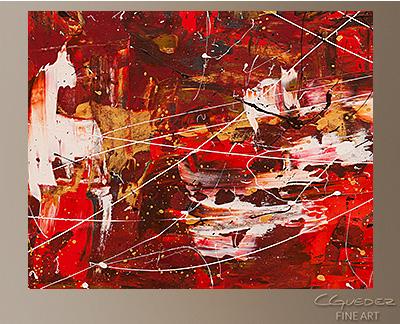 Red Matter Modern Abstract Art Painting -Wall Art Close Up