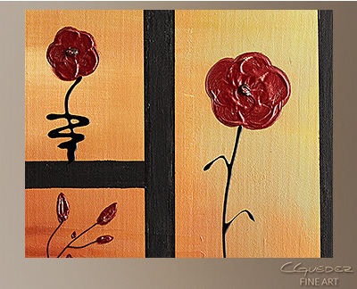 Red Poppies Modern Abstract Art Painting -Wall Art Close Up