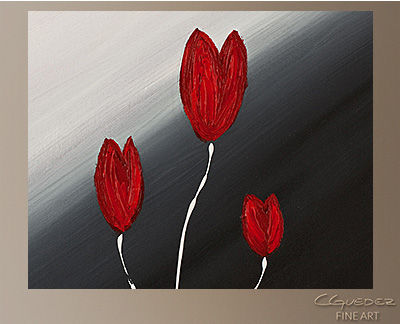 Red Tulips Modern Abstract Art Painting -Wall Art Close Up
