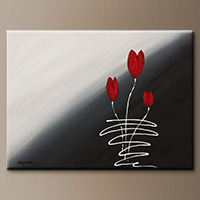 Modern Abstract Art Painting - Red Tulips - Large Abstract