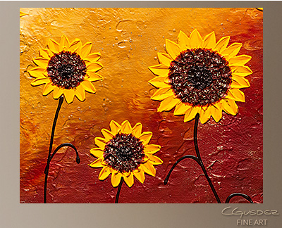 Sunflower Garden Modern Abstract Art Painting  Wall Art Close Up