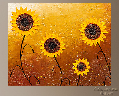 Sunflower Meadow Modern Abstract Art Painting -Wall Art Close Up