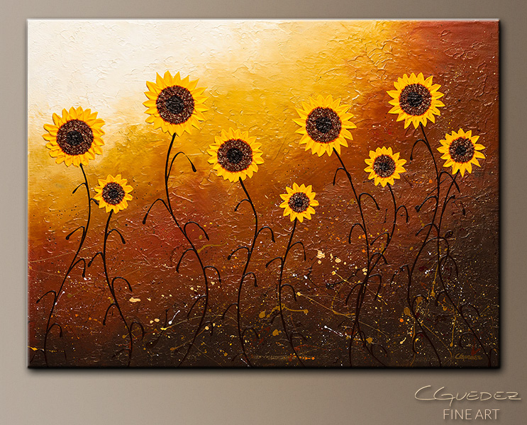 Sunflower Wall Art sunflower meadow - abstract art - large original abstract painting