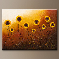 Large Sunflower Abstract Art - Sunflower Meadow - Art Canvas