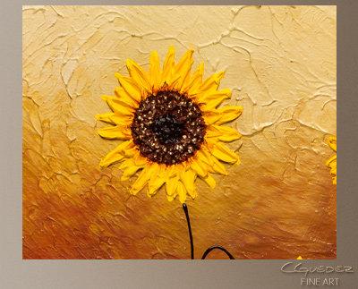 Sunflowers Modern Abstract Art Painting -Wall Art Close Up