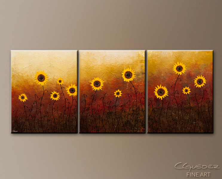 Sunflowers - Abstract Art Painting Image by Carmen Guedez