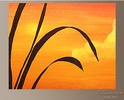 Sunset Palm Modern Abstract Art Painting -Wall Art Close Up
