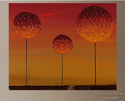 Sunset Trees Modern Abstract Art Painting -Wall Art Close Up