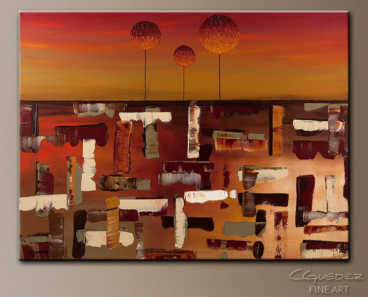Sunset Trees - Abstract Art Painting Image by Carmen Guedez