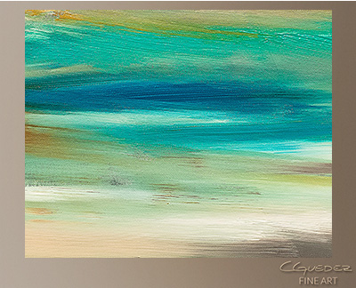 Teal and Aqua Modern Abstract Art Painting -Wall Art Close Up