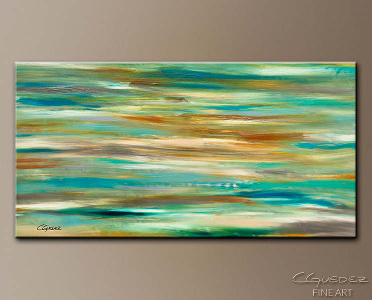 Teal and Aqua - Abstract Art Painting Image by Carmen Guedez