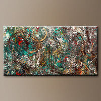 Oversized Abstract Art Painting - The Gold Ring - Art Canvas