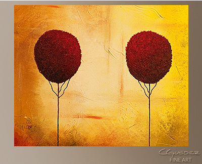 Three Alone but Together Modern Abstract Art Painting -Wall Art Close Up