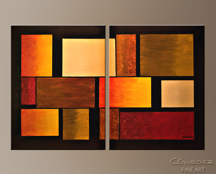 Three's a Crowd - Abstract Art Painting Image by Carmen Guedez