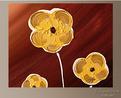 Tre Fiori Modern Abstract Art Painting -Wall Art Close Up