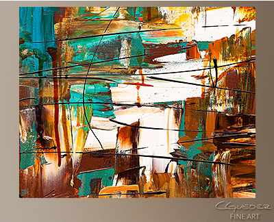 Turquoise Scent Modern Abstract Art Painting -Wall Art Close Up