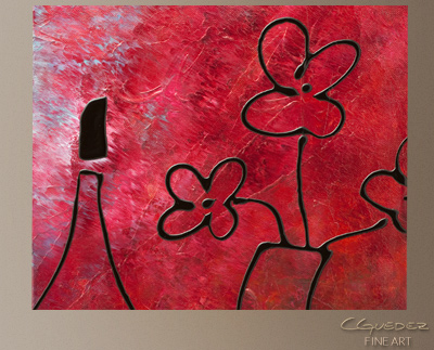 Vin Rouge Modern Abstract Art Painting -Wall Art Close Up