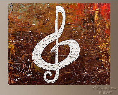 White Clef Modern Abstract Art Painting -Wall Art Close Up