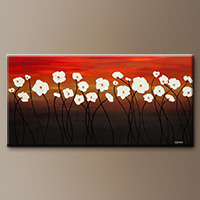 Abstract Flowers Art Painting - White Dreams - Large Art