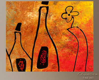 Wine Festival Modern Abstract Art Painting -Wall Art Close Up