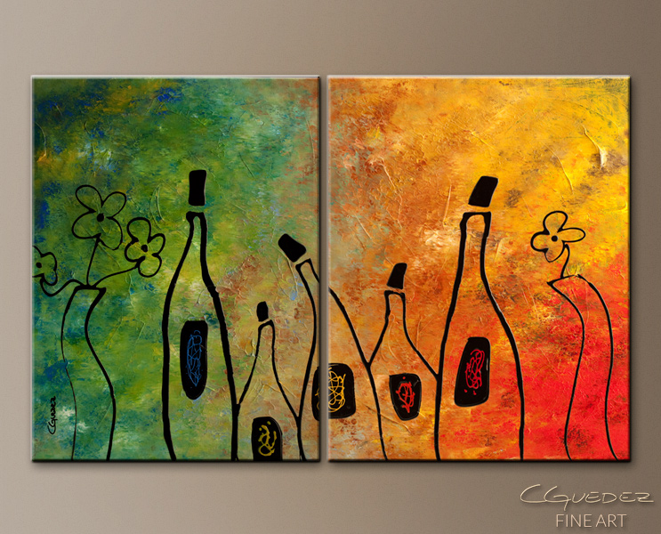 Wine Festival - Abstract Art Painting Image by Carmen Guedez