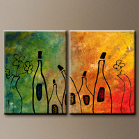 Abstract Art Canvas Set - Wine Festival - Original Art