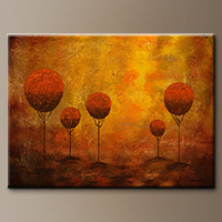 Textured Trees Abstract Art Painting - Woodland - Wall Art