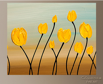 Yellow Tulips Modern Abstract Art Painting  Wall Art Close Up
