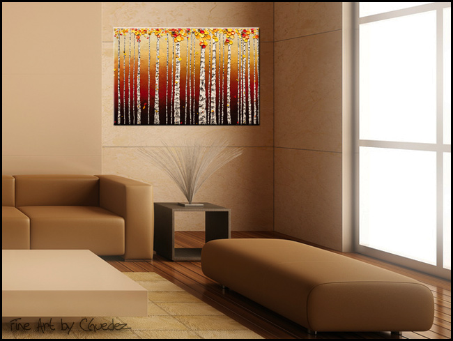 Birch Trees-Modern Contemporary Abstract Art Painting Image