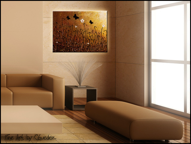 Butterflies Landscape-Modern Contemporary Abstract Art Painting Image