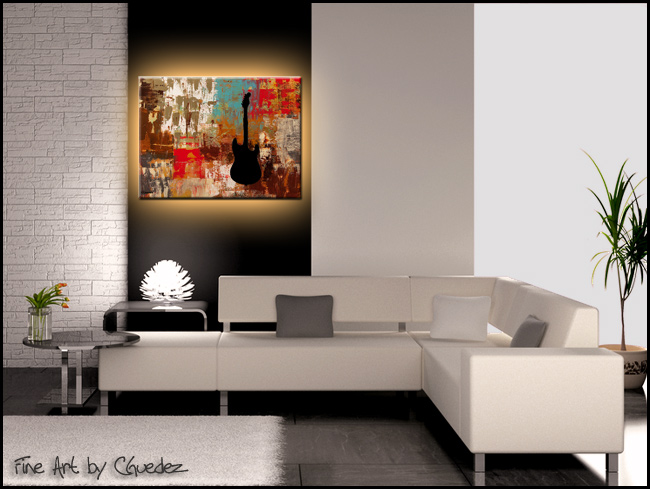 Guitar Solo-Modern Contemporary Abstract Art Painting Image