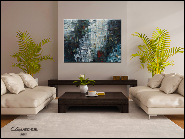 Calming Falls-Modern Contemporary Abstract Art Painting Image