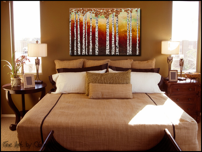 Bedazzling Birches-Modern Contemporary Abstract Art Painting Image