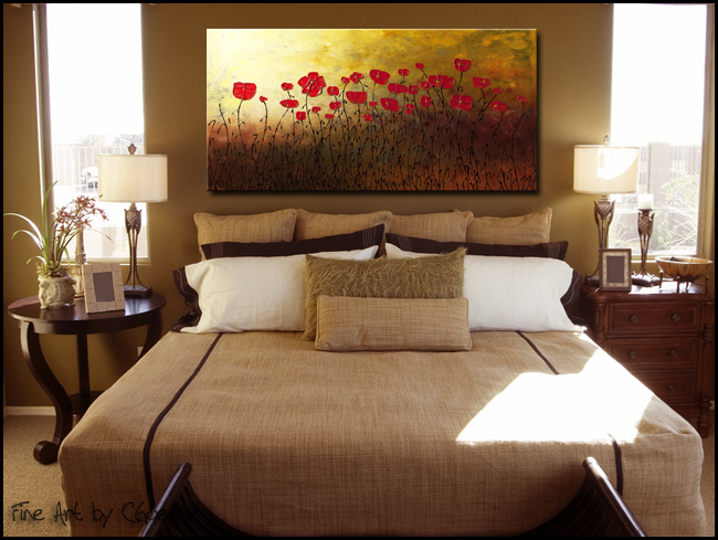 Red Flowers Modern Contemporary Abstract Art Painting Image