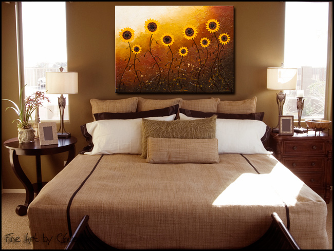 sunflower meadow abstract art large original abstract painting