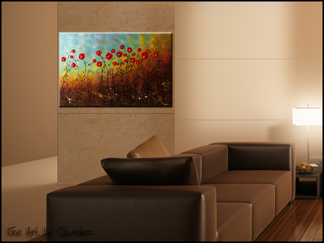 Blue Sky Flowers-Modern Contemporary Abstract Art Painting Image