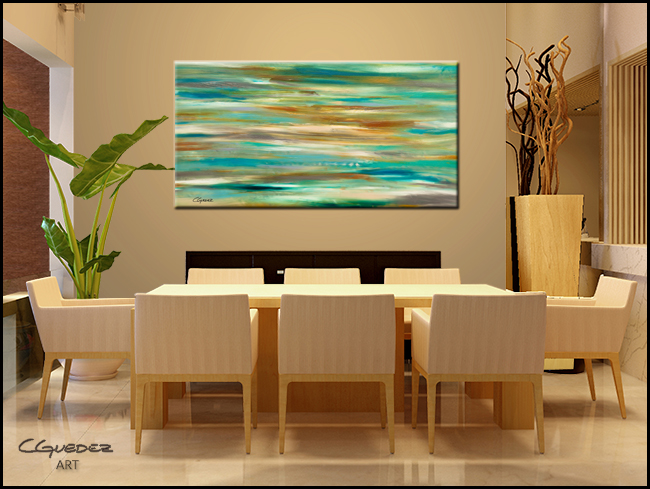 Teal and Aqua-Modern Contemporary Abstract Art Painting Image